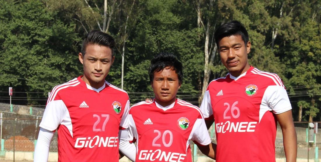 Lajong Signs Aibanbha Dohling, Konsham Chinglensana and Milan Basumatary.