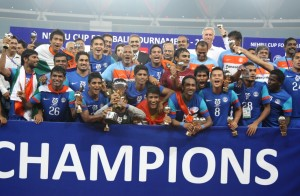 A file picture of the Indian Team after winning the Nehru Cup.