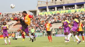 Action from the match between Prayag United vs East Bengal.