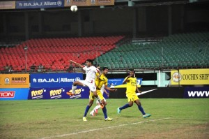 Action from the second semifinal between Services and Punjab at the Jawaharlal Nehru Stadium in Kochi.