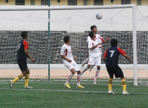 Aerial tussel between Manipur and Tripura resulting in Sukanta Jamatia's (7) volley finding the back of the Manipur net for the equaliser.jpg