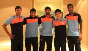 (From left) Sandip Nandy, Nirmal Chettri, Denzil Franco, Sunil Chhetri and Lenny Rodrigues pose at the Team Hotel in Kochi.