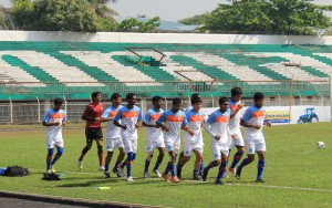 India players during a recovery session on the morning after the Chinese Taipei match.