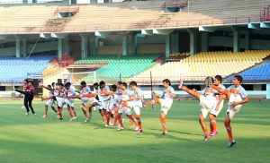 Indian players during the practice session on Sunday.