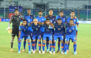 India's starting XI vs Myanmar pose prior to the kick-off.