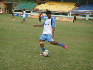 Mohammed Rafi goes through the paces before their semifinal match against Kerala.