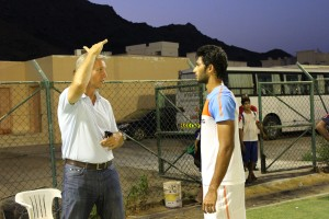 National Coach Wim Koevermans explains a point to Prathamesh Maulingker during the U-22 AFC Qualifiers.
