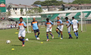 Robin Singh sweats it out with his teammates during a training session in Yangon.