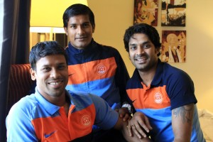 Sandip Nandy, Subrata Pal, Subhasish Roychowdhury pose for a picture.