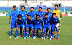 The Indian Starting XI pose prior to the kick-off against Chinese Taipei at the Yangon Training Centre.