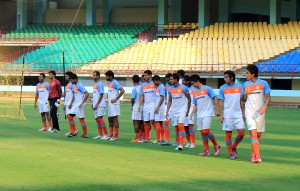 The Indian Team during a practice session.