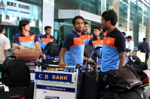 The Indian Team upon their arrival in Yangon on Tuesday.